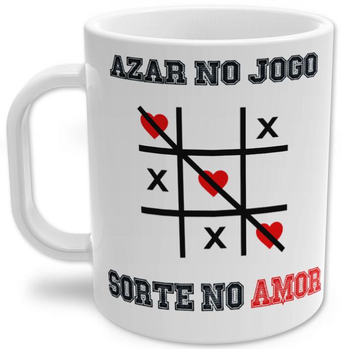 Caneca de Porcelana Azar no Jogo, Sorte no Amor Dia dos Namorados