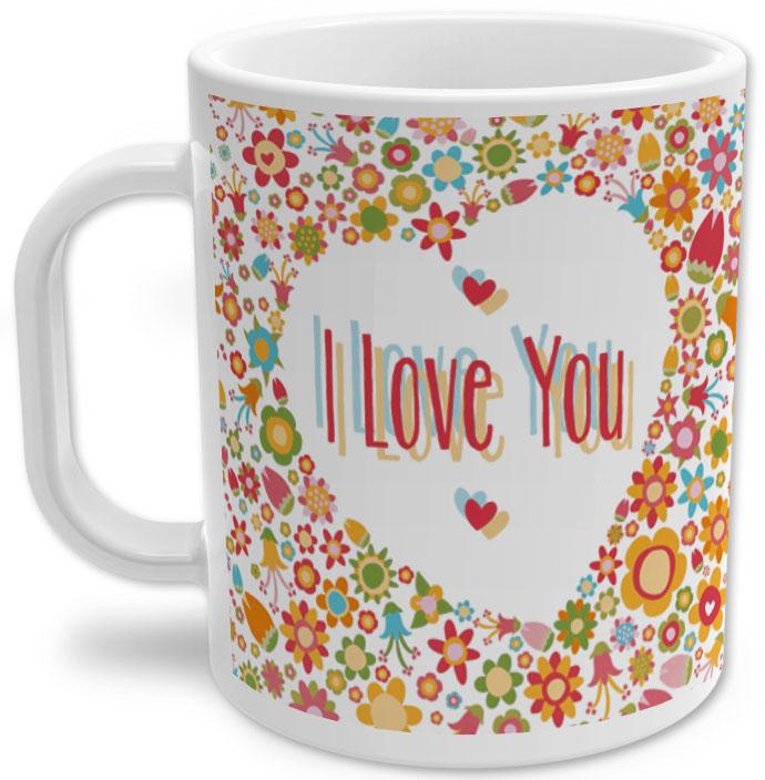 Caneca de Porcelana I Love You Dia dos Namorados