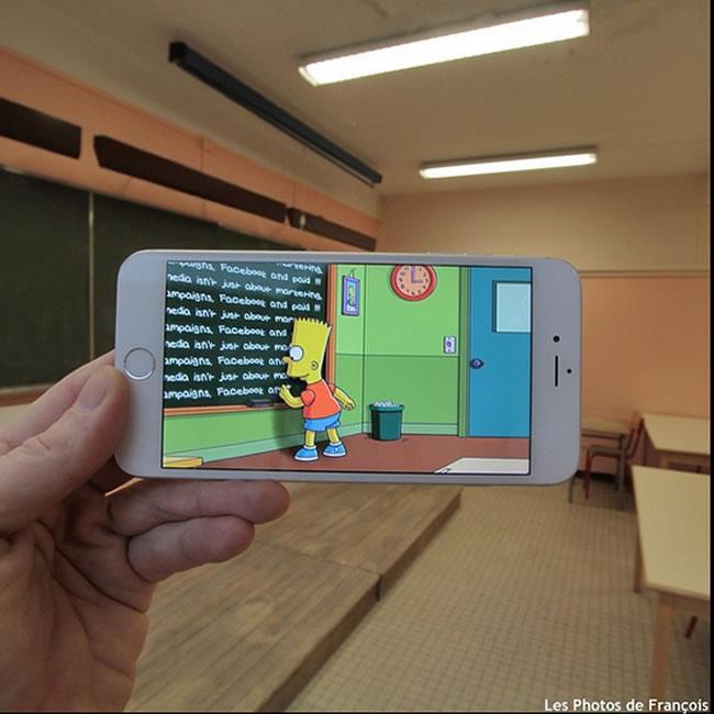 Personagens de desenhos animados e filmes em cenários na vida real - Bart Simpson em seu castigo diário